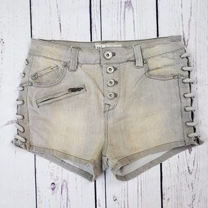 Free People Lace Up Stretch Denim Shorts Size 25